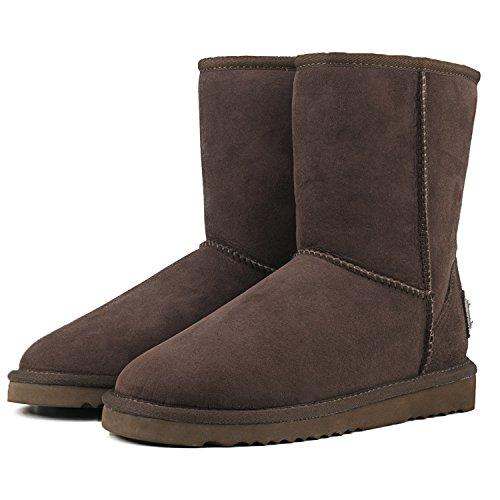 Shenduo Bottes femme cuir de mouton, Boots fourrées hiver Mi-mollet doublure chaude de laine DV5825 Chocolat