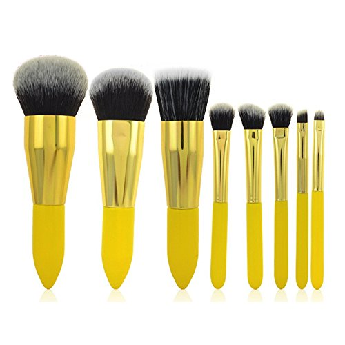 Mac Make-up Pinsel Echte (Miss Pouty 8 Stück gelb Make Up Pinsel Set Premium Qualität Chrom Professioneller Make-up-Pinsel Set)