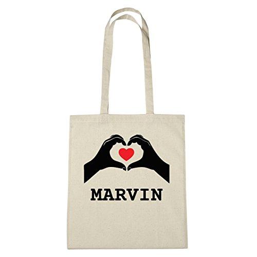 JOllify Marvin di cotone felpato b5732 schwarz: New York, London, Paris, Tokyo natur: Hände Herz