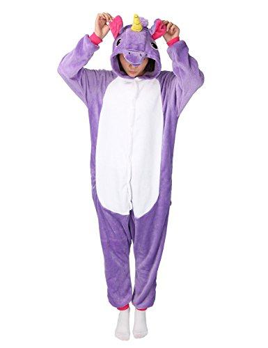Adulte Unisex Licorne Pyjama Kiguruma Combinaison Vêtement de Nuit Cosplay Costume Déguisement Unicorn - Violet Taille M