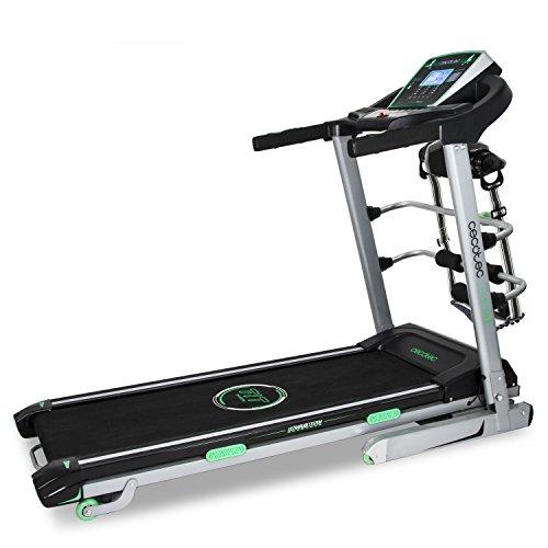 Cinta de correr profesional ExtremeTrack Vibrator de Cecotec. Gran Potencia 3 C.V. Hasta 18 Km/h. Cinturón de masaje. Mancuernas. UltraFlex System con 8 elastómeros. Entrenamiento inteligente