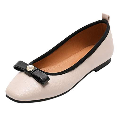 Yiliankeji Bequeme Wilde Einzelne Schuhe Damen - Frauen Beiläufigen Bogens Flachen Viereckigen Kopfes Freizeitschuhe -