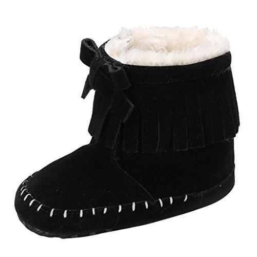 SHOBDW Baby-weiche Sole-Beuten-Schnee-Aufladungen Säuglingskleinkind-Neugeborene, die Schuhe schuhe (0 ~ 6 Monate, (Schwarzen Glänzenden Die Bodysuit)