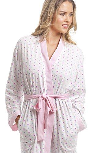 Accappatoio leggero in misto cotone con pois colorati - bianco e rosa Bianco