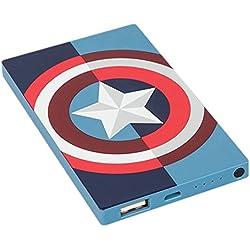Tribe Marvel - Cargador portátil (4000mAh) batería externa móvil para celulares, diseño Captain America