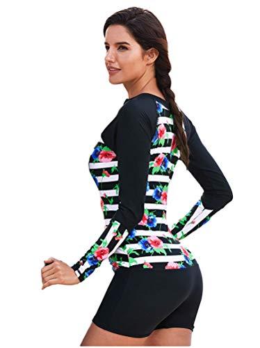 XYAN Einteiler für Frauen und Jugendliche mit Langen Ärmeln Neoprenanzug - UV-Schutz Reißverschlüsse vorne Blumensport-Tauchhautanzug - Perfekt zum Schwimmen/Tauchen/Schnorcheln/Surfen