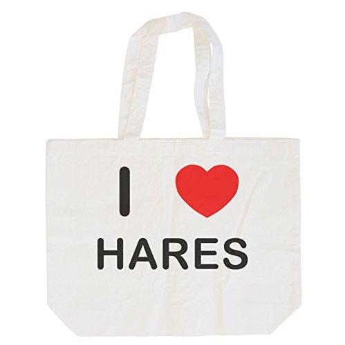 Haar-maxi (I Love Hares - Maxi-Einkaufstasche aus Baumwolle)