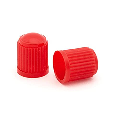 2x Red Plastic Tyre Valve Dust Caps Schrader Type Universal Fit Motorcycle Scooter Dirt Bike Quad
