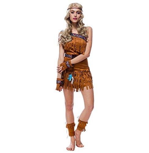 Authentische Jäger Kostüm - Authentische Western Kollektion Indianerin Kostüm Braun
