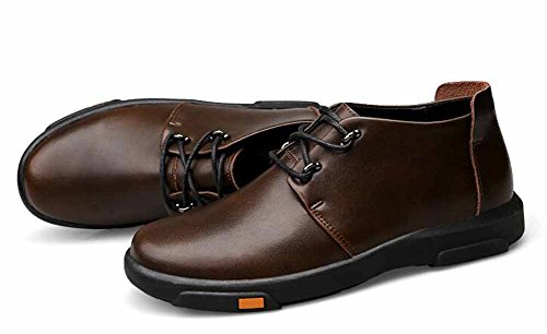 Uomo Casual Flats Shoes Autunno Inverno New Leather Outdoor Warm Walking Shoes Scarpe Di Grandi Dimensioni Brown