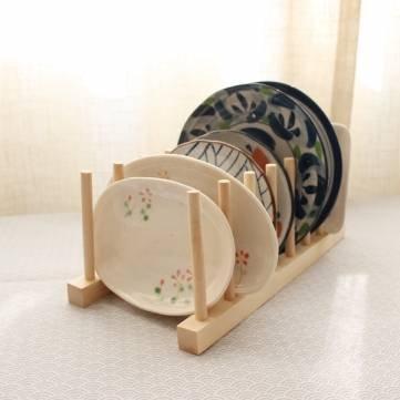 Massivholz-Platten-Teller ablassen Rack-Shelf Geschirr