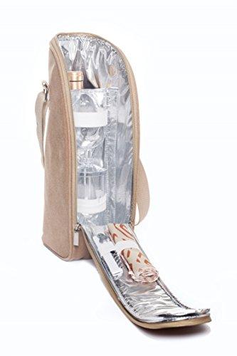 Woodluv Schlanke Weinkühler-Tasche inkl. Weingläser, Korkenzieher und Servietten für 2 Personen