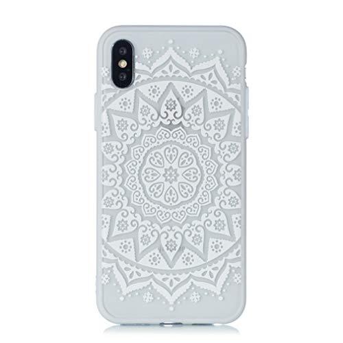 Keyihan iPhone 8/7 Funda Carcasa Flor de Encaje en Relieve Datura Tótem Mandala Patrón Parachoques Duro con Borde Suave Bumper Case para Apple iPhone 7 8 (Blanco Sun Flower)