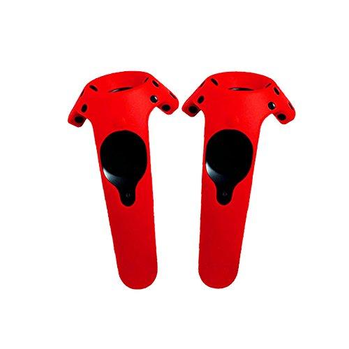 2 pack, estuche protector de silicona superior para HTC VIVE/VIVE PRO auriculares VR Controllers (caso controlador, rojo)