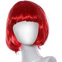 Ularma Peluca de Masquerade, rodillo pequeño Bang corta el pelo lacio (rojo)