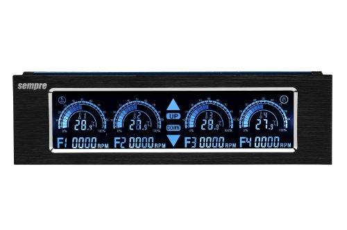 Sempre MP-5TSLCD - Panel de control del ventilador (4 canales LCD, pantalla táctil) color negro