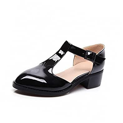 AllhqFashion Women's Buckle Pointed Closed Toe Low Heels Pu Solid Pumps Shoes, Black, 34