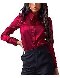 AiBarle - Blusa de Manga Larga para Mujer con Botones y Camiseta de Manga Larga (