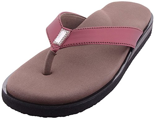 Dia One Brown Pink Orthopedic Sandal Rubber Sole MCP Insole Diabetic Footwear for Women (Dia_30 Size 9 - 27 cm)