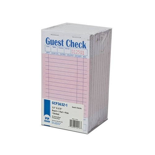 Pink Guest Check Board, 1 Part Booked, Package of 10 Books