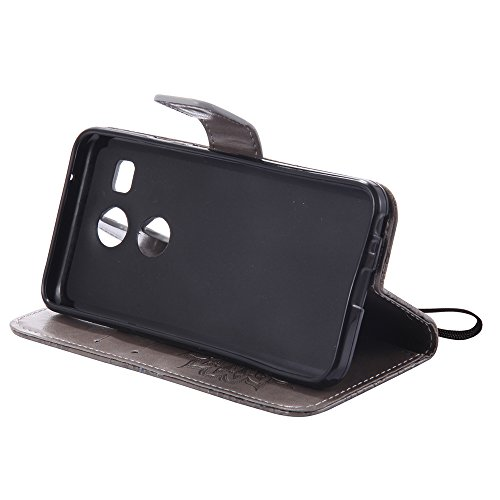 Für LG Nexus 5x Fall, Prägen Sonnenblume Magnetic Pattern Premium Weiche PU Leder Brieftasche Stand Case Cover mit Lanyard & Halter & Card Slots ( Color : Red ) Gray
