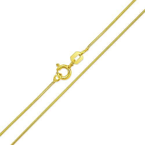e 1MM 010 Gauge Für Damen Halskette 14K Vergoldet 925 Sterling Silber Hergestellt In Italien 14 Zoll ()