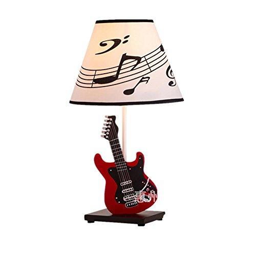 WBLL E27 Musik Tischlampe Kreative moderne Stil für Kinder Schlafzimmer Wohnzimmer Esszimmer Dekoration Bedside Gitarre Schreibtisch Lampe , red Tiffany-lampe Musik