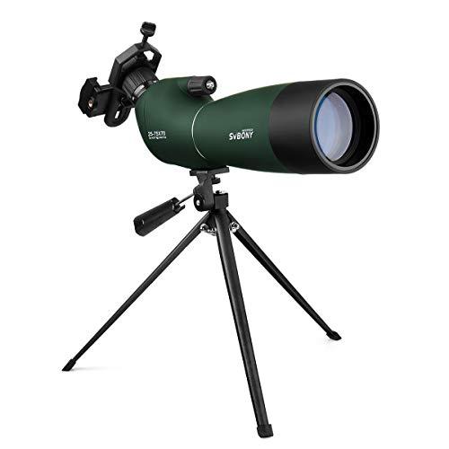 Svbony Spektiv 25-75x70 SV-28 IP65 Wasserdicht 45 Grad abgewinkelt Okular mit Stativ und Handy Adapter