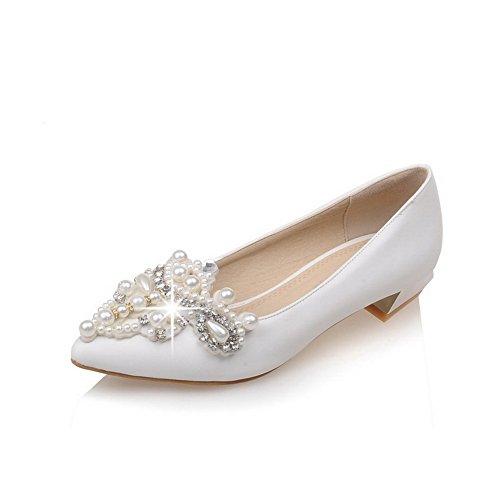 AgooLar Damen Spitz Zehe Niedriger Absatz Weiches Material Rein Ziehen Auf Pumps Schuhe Weiß