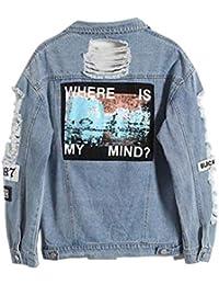 Jeansjacke Damen Casual Revers Jeans Jacke Blau Fashion Jungen Trend  Herbstjacke Denim Mädchen Outerwear Herbst Winter… 997d662371