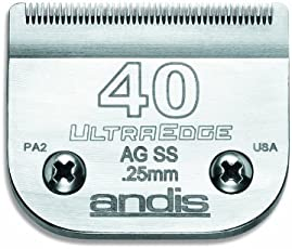 Andis Carbon-Infused Steel UltraEdge Dog Clipper Blade, Size-40, 1/100-Inch Cut Length (64084)