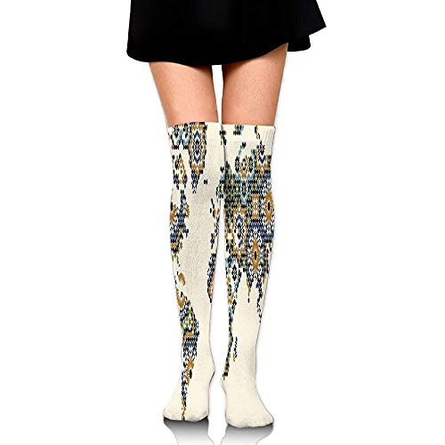 Juzijiang Ethnic Thailand Style Nostalgic Medieval Scroll Asian Arts Design With Floral Forms Women's Fashion Over The Knee High Socks (65cm) -