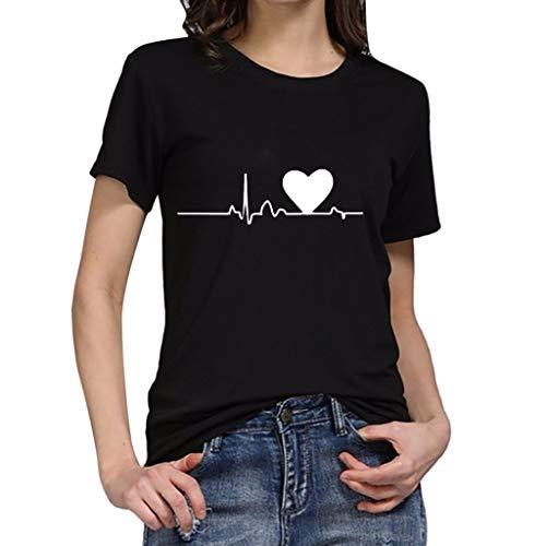T-Shirt Frauen Frauen Übergrößen Heartbeat Printing T-Shirt Kurzarm T-Shirt Shirt Top