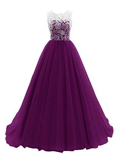 Dresstells Damen Ballkleid Lang Tüll Hochzeitskleid DTH90037 Grape