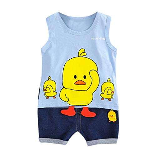 wuayi  Baby Jungen Kleidung Set, Jungen Cartoon 3D Ente Weste Tops Shorts Outfits Kostüm Jungen Kleidung 3-24 Monate