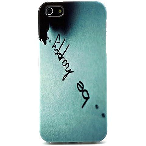 Custodia protettiva compatibile con Apple iPhone 5 (5S, SE) Custodia in silicone TPU con lo slogan 'essere felice' YOLO (blu, bianco, nero)