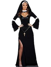 Aimerfeel Damen Nonne Kostüm mit Kleid und Kopfschmuck Größe M-XL