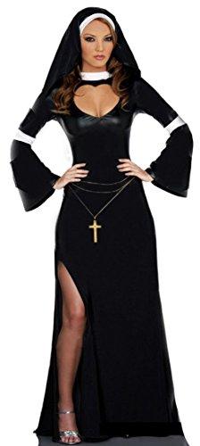 Zubehör Nonne (Aimerfeel Damen Nonne Kostüm mit Kleid und Kopfbedeckung Größe)