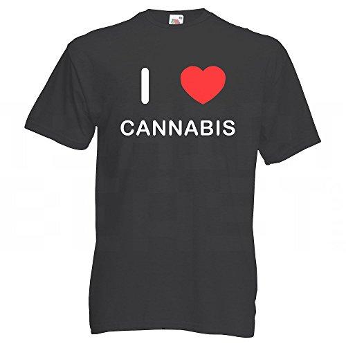 I Love Cannabis - T-Shirt Schwarz