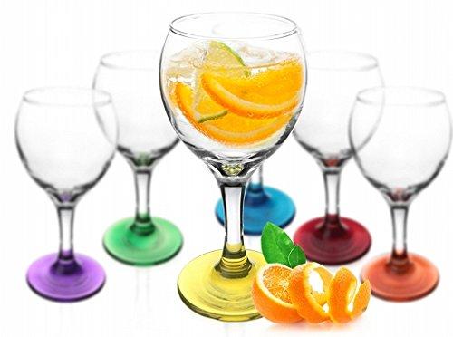 6 x Weingläser Bunte Gläser Weinglas Gläserset Rotweingläser Weinkelche Set