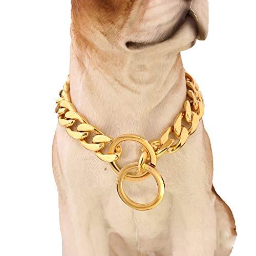 Hundehalsband mit Spiegel poliert Edelstahl P Kette leer Metall Titan Stahl Kette Haustier Hund Training Leine 15 mm Gold 32 Zoll 14 Zoll (36 cm) -