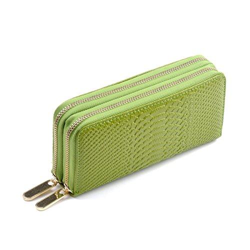 XY Fancy Damen mode Kunstleder Krokodil Ader Doppel-Reißverschluss Brieftasche Geldbörsen Clutches, Grün (Gesteppte Wallet Clutch)