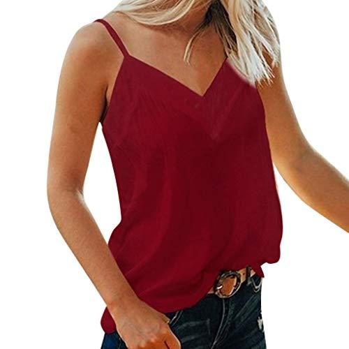 Fenverk Damen Tanktop Frauen T-Shirt äRmellose Bluse Camisole Tank Tops V-Ausschnitt Shirt Outdoor Sport Fitness Running Training Sommer Casual Weste Mode(Weinrot,M) (, Kleinkind, Größe 7 Nike Schuhe)