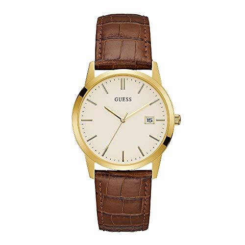 Guess Hombres camden vestido fecha reloj oro W0998G3