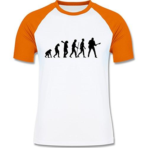 Shirtracer Evolution - Gitarrist Evolution - Herren Baseball Shirt Weiß/Orange