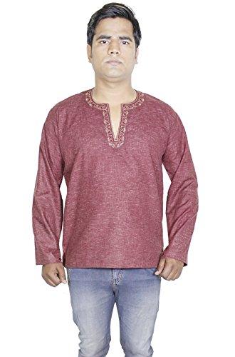 Mens-manches-longues-casual-coton-kurta-polo-t-shirt-vtements-indien