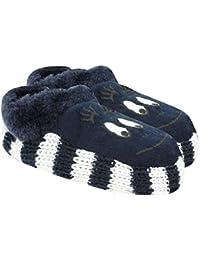 Neska Moda Soft Cotton Girl Navy Blue Bootie Cum Indoor Slipper for 4 to 6 Years BT348