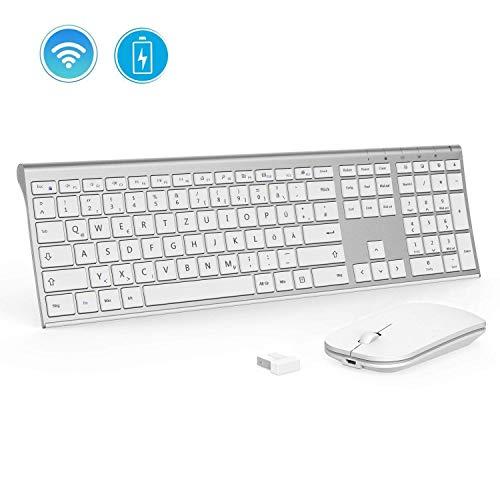 Jelly Comb Ultraslim Tastatur und Maus Set, 2.4G Kabellose Tastatur mit Funkmaus Wiederaufladbar Kombi für PC, Laptop, Smart TV, QWERTZ Deutsches Layout, Weiß und Silber