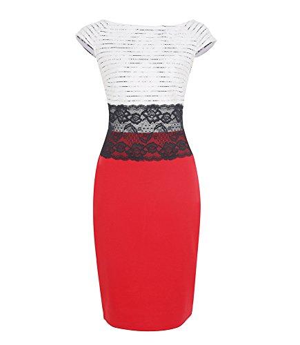 U8Vision Damen Ärmellos Knielang Elegant Lace Waist Business Etuikleid Pencil Abendkleider Cocktailkleid Gr.S-XXXXL Rot