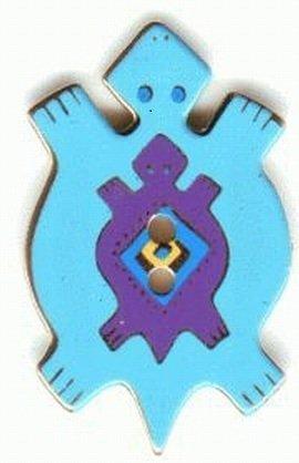 Button–Blau Schildkröte–28mm–Retired Laurel Burch Emaille auf Metall - Pulsanti Turtle